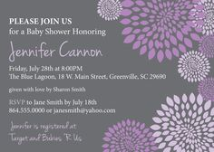Baby Bridal Shower Invitation Printable Girl Purple and Lavender and Charcoal Grey Gray Floral Modern, DIY Digital File