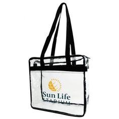 """Clear stadium bag is perfect for any sporting events and outdoor outings. It features a clear front pocket, double zipper pull, and long carrying handles.  NFL approved.  Its size complies with the new NFL stadium regulations for clear bags. For NFL games use, print size is restrict to 3.4""""W x 4.5""""H."""