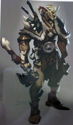 common type of orc berserker with 2 axes. wears mostly light armor and carries 2 extra weapons on their back. has the aesthetic where all their gear seems self made. Game Concept Art, Character Concept, Character Art, Character Design, Dota Warcraft, Defense Of The Ancients, Fantasy Monster, Creature Concept, Creature Design
