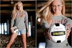 Girl Senior Portraits volleyball | sports girl senior (I like this idea of wearing more normal type ...