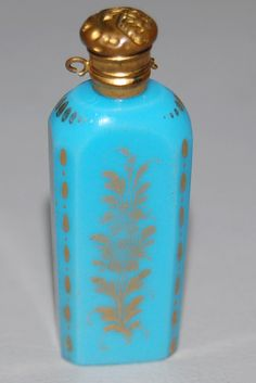 19th C Antique French Blue Opaline Glass Chatelaine Perfume Bottle Gilt Accents | eBay