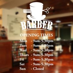 Barber Shop opening times wall sticker custom decal sign hairdresser salon bb10