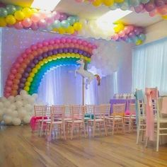 ideas for birthday party decorations rainbow baby shower Rainbow Unicorn Party, Rainbow Birthday Party, Rainbow Theme, Unicorn Birthday Parties, First Birthday Parties, Birthday Party Decorations, Girl Birthday, Balloon Decorations, Birthday Ideas
