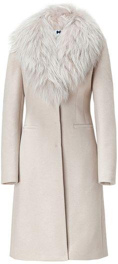 Blumarine Beige Sand Coat with Removable Raccoon Fur Collar