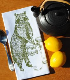 Set of Four Cloth Napkins Green Racoon Playing Congas  $24 Click Here: https://www.etsy.com/listing/205296688/cloth-napkins-green-racoon-playing?utm_source=Pinterest&utm_medium=PageTools&utm_campaign=Share