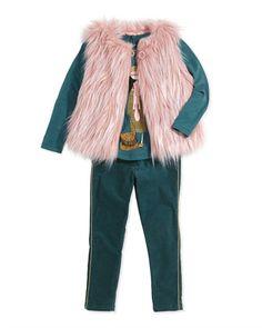 Girls\' Faux-Fur Vest, Miss Marc Printed Tee & Corduroy Pants  by Little Marc Jacobs at Bergdorf Goodman.