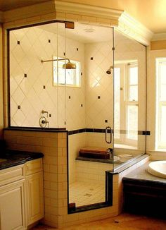 corner shower. I want a giant shower like this.