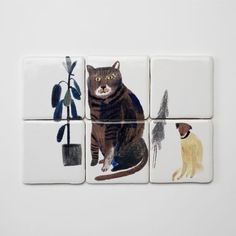 Where the Wild Things Are: Tiles from Laura Carlin.lovely (as I mentioned before - Laura Carlin rules) Laura Carlin, Image Chat, Illustration Art, Illustrations, Cat Dog, Tile Murals, Decorative Tile, Handmade Crafts, Decorative Accessories