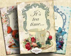 Vintage Tea Cards - Instant Download - Digital Collage Sheet - Digital Cards - Tea Cards - Tea Tags - Printable Cards - Gift Cards ACEO