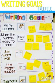 FREE Writing Goals and Writing Paper for Kindergarten and First Grade