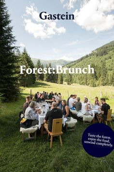 Forest:Brunch in Angertal combines breakfast and lunch into an extraordinary culinary experience - in the middle of the forest! After a 30-minute hike through the beautiful nature near Bad Hofgastein, you will be treated to a 7-course Forest:Brunch menu. Brunch Menu, Dolores Park, Lunch, Breakfast, Nature, Middle, Beautiful, Tourism, Eat Lunch