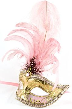 Stunning Gold and Pink Venetian Masquerade Mask with Pink Feathers