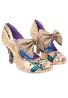 Feel your heart soar with our So This Is Love heels featuring brocade style fabric uppers with rose gold scalloped trim and embroidered details. With oversized metallic bows and glitter heels providing a magical finish, this perfect pair will teach you th Dream Shoes, Crazy Shoes, Me Too Shoes, Pretty Shoes, Beautiful Shoes, Awesome Shoes, Irregular Choice Cinderella, Quirky Shoes, Irregular Choice Shoes