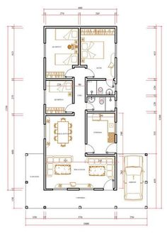 Spanish-language article on simple house plans. 2bhk House Plan, Model House Plan, Simple House Plans, House Layout Plans, Best House Plans, House Layouts, Home Design Floor Plans, House Floor Plans, 30x40 House Plans