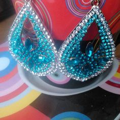 'Blue Sparkle'earrings available at www. Blue Sparkles, Beautiful Earrings, Statement Earrings, Photo And Video, How To Wear, Stuff To Buy, Shopping, Jewelry, Instagram