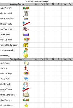 Summer Chore Charts for Kids