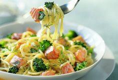 Vous cherchez une recette simple et savoureuse avec des spaghettis? Cette recette au saumon et aux brocolis servis avec une crème à l'aneth et au citron est un délice! Parsemées de parmesan frais râpé, les pâtes sont parfaite pour un repas improvisé.
