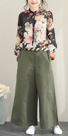 Fashion Cotton Wide Leg Pants Women Casual Trousers For Fall – Hijab Fashion 2020 Modest Dresses, Modest Outfits, Modest Fashion, Fashion Outfits, Womens Fashion, Fashion 2018, Casual Fall Outfits, Trendy Outfits, Casual Pants