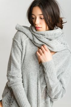 Drape Front Cardigan with 60″x14″ Pieced Scarf, 100% Ultra-soft Dreamy Cashmere | Paychi Guh