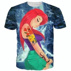 New Cartoon Ariel T Shirt The Little Mermaid Tee Top Casual Short Sleeve Cartoon T Shirt Fashion Harajuku O-Neck Cheap T Shirts, Boys Shirts, T Shirts For Women, Mode Harajuku, Hipster Disney, Top Casual, Mermaid Shirt, Princess Cartoon, Cartoon T Shirts
