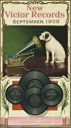 """1905 """"His master's voice"""". The dog we know and love is Nipper. He's listening to a wind-up gramophone. In the photograph on which the painting was based, Nipper was listening to a phonograph cylinder."""