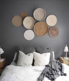Finally, we reveal our first guest bedroom real reno. See how we created a stunning guest bedroom and some before and after photos. Gallery Wall Bedroom, Bedroom Wall, Bedroom Decor, Condo Decorating, Hallway Decorating, Boho Living Room, Living Room Decor, Rattan, Baskets On Wall