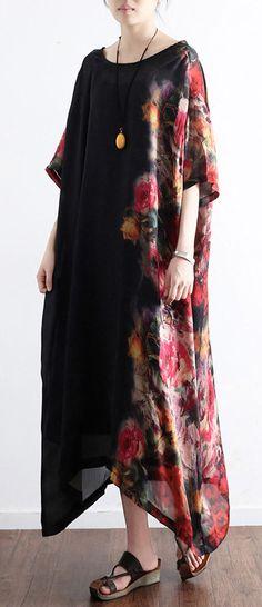 2017 black prints silk  plus size sundress patchwork short sleeve maxi dress