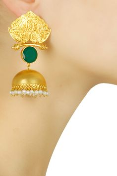 Gold plated temple green onyx jhumkis available only at Pernia's Pop Up Shop.#jewellery #raabta #earrings #perniapopupshop #goldjewellery #pearls