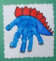 Dinosaur handprint art for kids. Great for preschool art activities or babysitting. Kids Crafts, Daycare Crafts, Baby Crafts, Toddler Crafts, Projects For Kids, Art Projects, Arts And Crafts For Kids Toddlers, Dinosaur Activities, Craft Activities