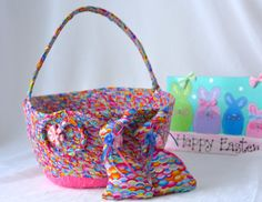 """Use Etsy Discount Coupon Code """"pinten""""      Girl Easter Basket and 2 Matching Easter Bunnies Handmade"""