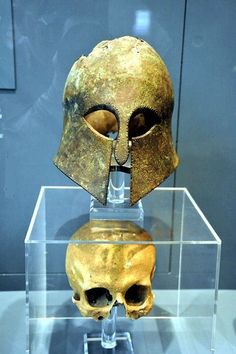 Museum of artifacts  Corinthian helmet from the Battle of Marathon (490 BC) found with the warrior's skull inside.