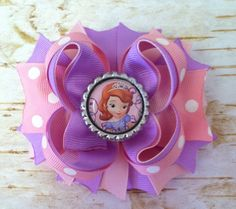 Sofia The First Boutique Hairbow by KBHBOWDesigns on Etsy. Ooh gotta get this one for my Sophie.