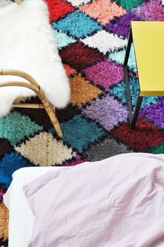 #decoratecolorfully multi harlequin shag rug