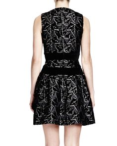 Alexander McQueen Sleeveless Ivy-Print Dress with Velvet Bands, Black/White - Neiman Marcus