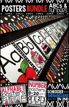 Alphabet and Number posters with a plaid background - black and white - BUNDLE