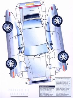 Each year 'Car' magazine runs down their top 10 for the year. In 1991, rather than use photographs, the magazine commissioned me to apply artwork to flat paper models which had been designed by a paper engineer. It was a great project but hard work as it was all hand-drawn so for each car 4 individual wheels and 2 individual sides had to be drawn and painted. Here's the Porsche 911