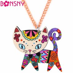 Bonsny Acrylic Cat Necklace Pendant Chain Choker New Fashion Jewelry For Women Spring Cute Animal Charm Collar Accessories #Affiliate