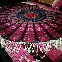 Roundie Indian Mandala Round Beach Towel Picnic Sheets Indian Mandala Roundies, Beach Throw, Round Table cover, Wall Hanging, Bedspread,Yoga Rug and mat, Hippie Roundie, Mandala Rug Gorgeous and beautiful beach blankets are a boho babe essential and favourite. Handmade from 100% Cotton with ethnic mandala design. Smultiple uses, they can be used for the beach, as a wall hanging or on a bed or anywhere you like. Beach Towel, Hippie Mandala Rug, Indian Wall Tapestry, Round Bohemian Tapestries