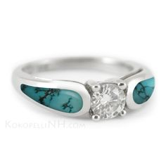 """This unique engagement ring features dark blue matrix turquoise, set into 14K white gold. A glittering center diamond brings it all together! """"Stormy Sky - Horizon"""" Ring."""