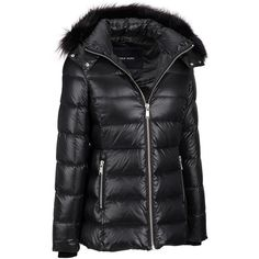 Andrew Marc Center Zip Down Jacket w/ Fox Fur Trim Removable Hood (€205) ❤ liked on Polyvore featuring outerwear, jackets, slim jacket, slim fit jackets, puffer jacket, slim fit down jacket and hooded down jacket
