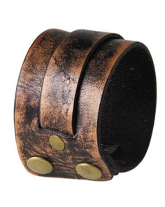 SURFSTITCH - ACCESSORIES - JEWELLERY - CUFFS - CLASSICS77 DISTRESSED W SINGLE OVERLAY CUFF - BROWN Overlays, Rings For Men, Accessories Jewellery, Brown, Bracelets, Cuffs, Leather, Collection, Men Rings