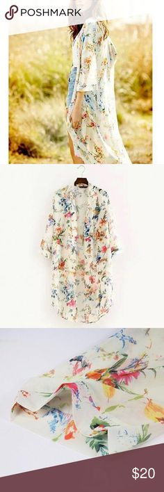 HOST PICK 8•6•16 PRE-ORDER! Long Floral Kimono HOST PICK 8.6.16 This gorgeous floral kimono comes in the following sizes: S, M, L & XL.  Soft and lightweight sheer chiffon material. NWOT please do not purchase this listing! Let me know what size you want and I'll make a reserved listing that I will tag you in when the kimono is available for purchase (about 1-2 weeks). Pictures #1 & 4 are pictures I took of the actual item. Swim Coverups