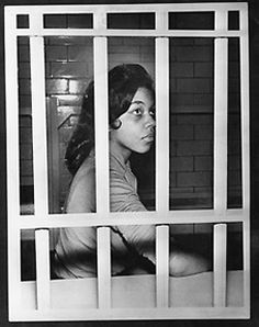 Fisk University student Jean Wynona Fleming behind bars in the Nashville jail.