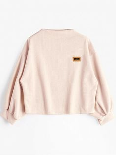 Badge Patched Lantern Sleeve Sweatshirt - LIGHT PINK ONE SIZE