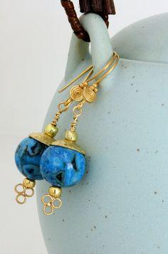 Blue Agate Earrings Gemstone Jewelry Flowered by wildwomanbeads, $38.00