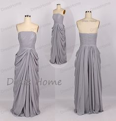 Grey Strapless Bridesmaid Dress  Cheap Long Grey by DressHome, $99.00