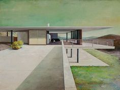 Modern architecture, the subject of these paintings by artist Jens Hausmann. Paintings that depict a modern structure but have an artist interpretation can
