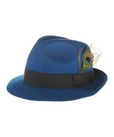 Take a look at this Blue Feather Wool Fedora by Faire Collection on #zulily today!