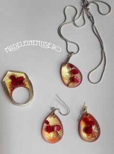 Plante naturale, rasina, sticla, argint Resin Jewelry, Drop Earrings, Handmade, Plant, Hand Made, Drop Earring, Resin Jewellery, Handarbeit