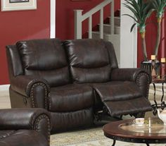 Recliner Loveseat in Brown Finish by Poundex *** For more information, visit image link.